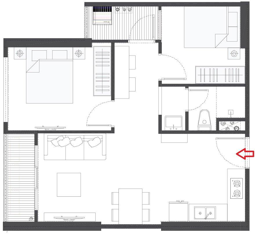 Thiết kế căn hộ 2 ngủ 1 vệ sinh Vinhomes Smart City